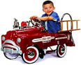 sad face fire engine pedal car